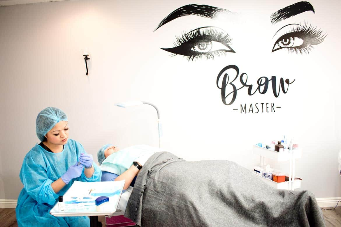 Microblading Student working on a live model