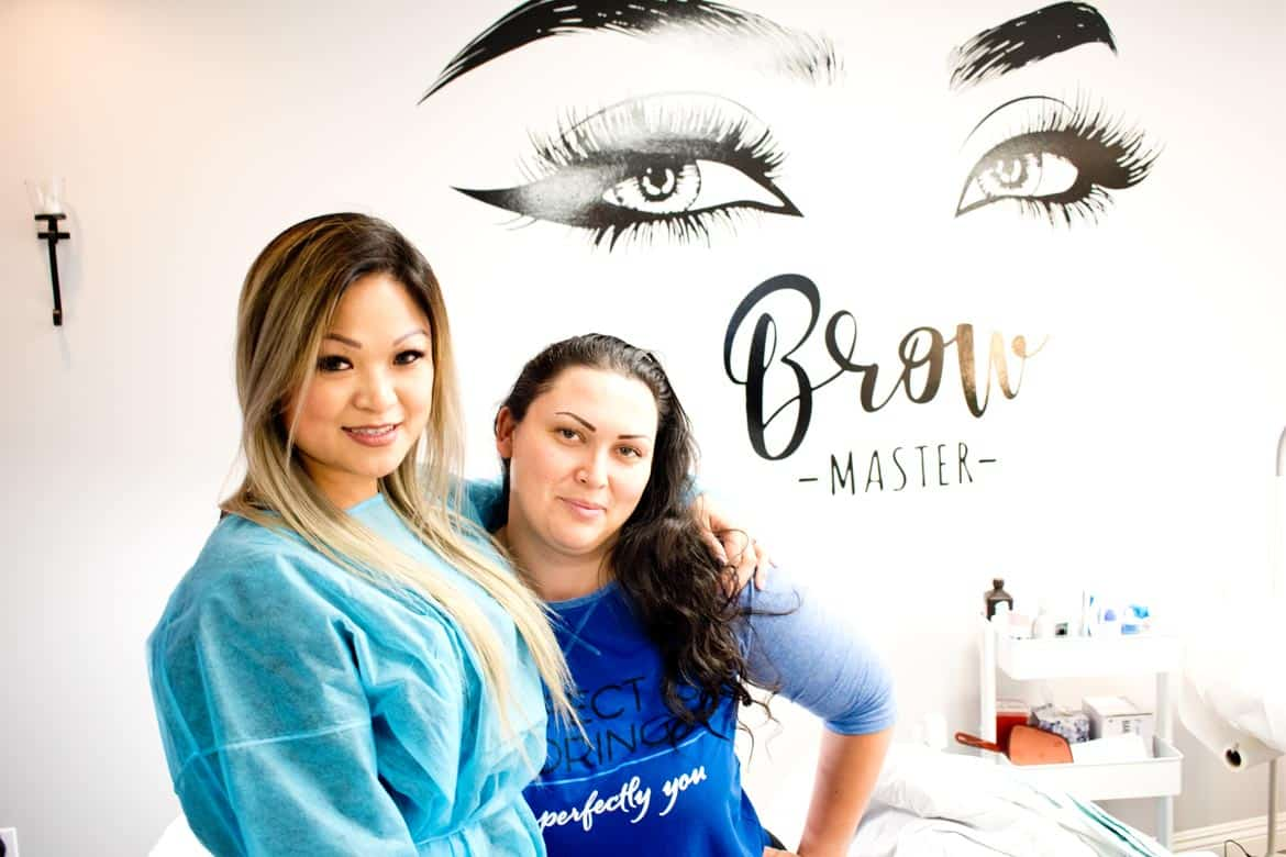 Model with Microblading stylist post procedure.