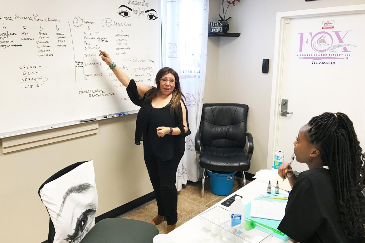 One on one microblading instruction.